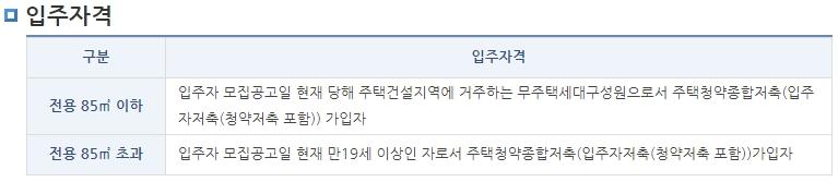 lh공공임대아파트 입주조건(평수)